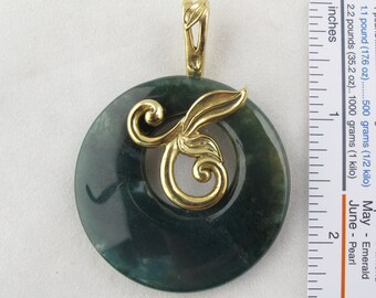 Genuine Gemstone Donut Pendant with Removable Bail