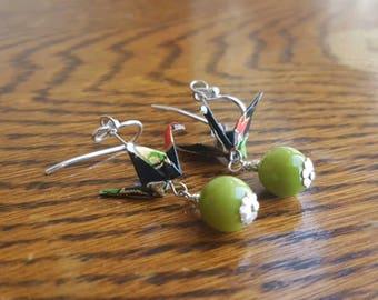 Origami Crane Earrings - Olive