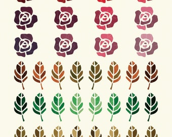 24 Roses and 48 Leaves Valentine Digital Clipart