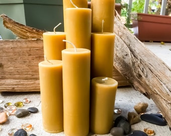 "Free Shipping-100% Pure beeswax candle-3""to 15""-scented or unscented-pillar candles-beeswax candles-2"" diameter pure beeswax candle-beeswax"