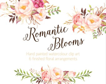Romantic Blooms Watercolour Clip Art/Rose/Individual PNG files/Hand Painted