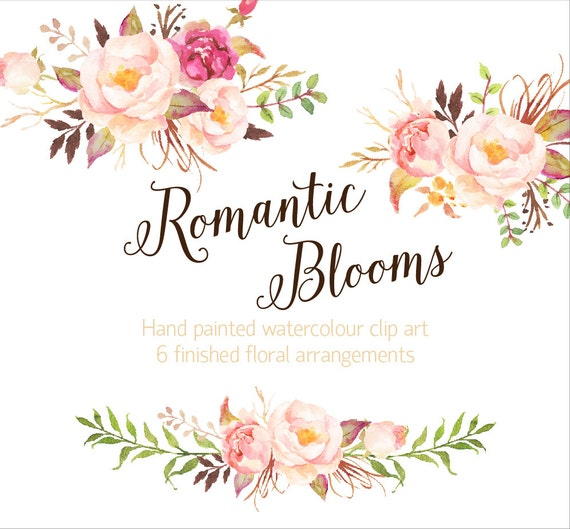Romantic Blooms Watercolour Clip Art/Rose/Individual PNG