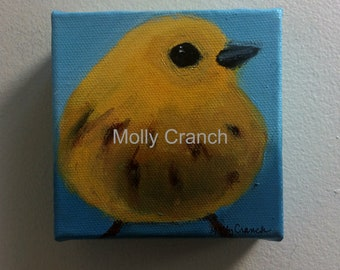 Miniature Painting of Yellow Warbler