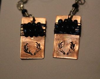 Deer Antler Earrings, Recycled Copper Handmade, Hand Stamped, Silver custom Made Bohemian Beauties Hunter Girls Sportsman Jewelry