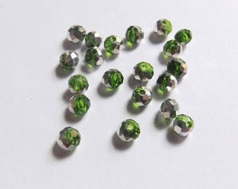 40 beads faceted glass green white and silver two-tone 3mmx4mm