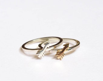 Tiny Arrow Stacking Ring, Silver or 9ct Yellow gold, Handmade Cupid Arrow Ring, Silver Stacking Ring, Romantic Ring