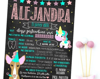 Personalized birthday film, with portrait of your Pet, unicorn and stars. Effect Slate Deco for Party + portrait film Gift