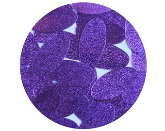 "Oval Sequin 1.5"" Purple Metallic Embossed Texture Loose Couture Paillettes"