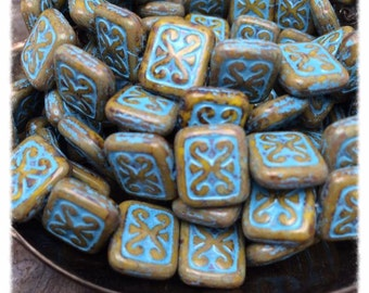 Ornamental rectangle Czech Glass beads,15 beads. Color: beige with picasso finish and turquoise wash, Carmel by the Sea Collection