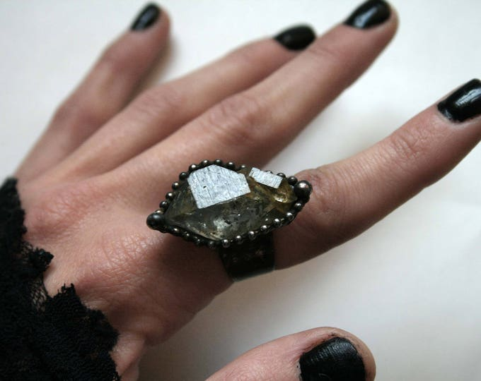 Medium Double Terminated Tibetan Quartz Crystal Ring
