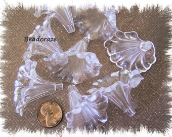 Large Lucite ~ Acrylic Calla Lily Beads ~ 8 Pieces ~ Absolutely Beautiful!