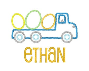 Easter Truck Applique, Truck with Eggs Applique, Flatbed Truck with Eggs Applique, Truck with Eggs Tee, Boys Easter Applique, Boys Easter