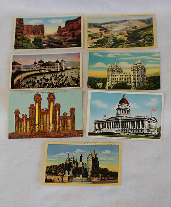7 Vintage Unused UTAH POSTCARDS..  Salt Lake, Capitol, Temple & More