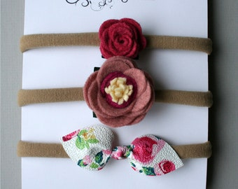 Flowers and bow on headband or elastic - baby and child - felted wool and synthetic leather