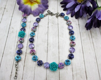 "Swarovski Crystal 12mm necklace, bracelet, ""Garden Gate"", Blue and Purple Swarovski crystal necklace with floral embellishment"