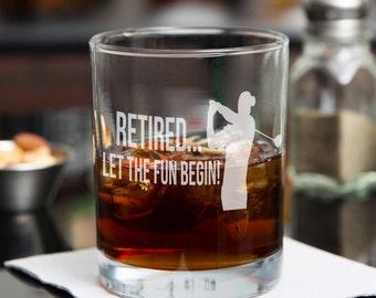 Retirement Gifts for Men - Golfer Gifts - Boss Retirement Gift - Gifts for Dad - Gifts for Husband - Retirement Whiskey Glass