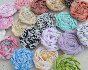"Fabric Flowers Roses Rolled Hairclip Bride Wedding Shower Birthday Bobby Pin Photo Prop French Rosette 1"" Scrapbook Handmade Wholesale 20"