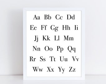 Alphabet Print PRINTABLE Uppercase and Lowercase Poster Little Kids Room Decoration Modern Print ABC Wall Art Black and White
