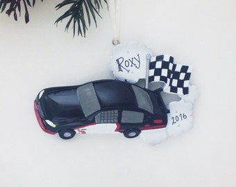 Black Stock Car Personalized Christmas Ornament / Racing Ornament / Child Christmas Ornament / Little Boy Ornament / Toddler