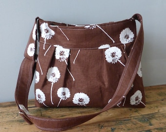 Brown Messenger Bag Custom Hand Printed Dandelions with Adjustable Strap Six Pockets Attaches to Stroller