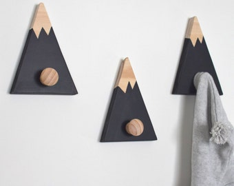 Wall Hooks for Kids, Mountain Wall Hook, Mountain Peak Coat Hook, Adventure Nursery Decor, Woodland Nursery Decor, Mountain Nursery Decor