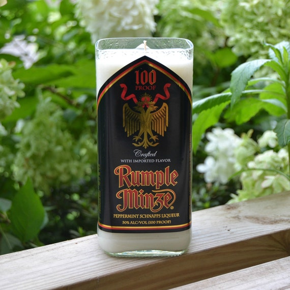 Rumple Minze Peppermint Schnapps liqueur bottle upcycled into a candle made with soy wax