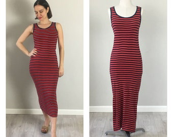 80s Red & Blue striped stertch cotton fitted dress  dress