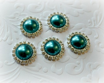 Flat Back Teal Pearl Cabachon Glass Rhinestone for Flower Centers. Qty: 3 Cabs.