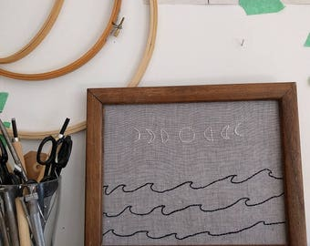 Moon and Waves - Framed Embroidery Art
