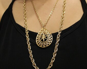 Vintage Gold Statement Nacklace by SHP, Gold Pendant Necklace, Long Gold Chain Necklace
