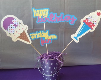 Ice Cream Centerpiece for Birthday Party, Baby Shower, Party Decorations, Centerpiece #1