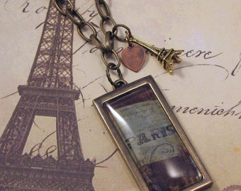 Paris Necklace with Eiffel Tower and Heart Charms on Brass Chain, Antiqued Brass Paris Necklace, 28 inch Paris Necklace, Paris Eiffel Tower