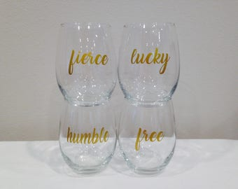 Positive mindset wine glass set