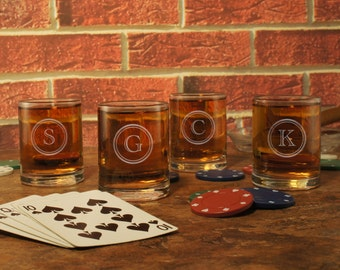 Old Fashioned Personalized Shooter Glass with Engraved Monogram Design Options & Font Selection (Each - Three Ounce Engraved Shot Glass)