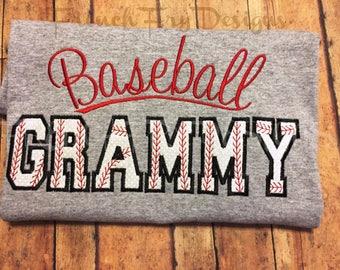 Baseball Grammy Grandparent Applique Long Sleeve T-Shirt Customized