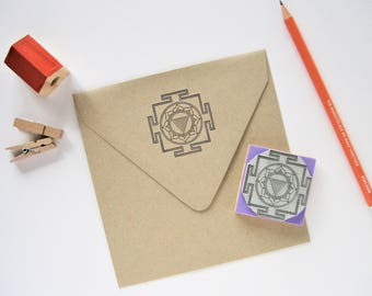 KALI YANTRA Rubber stamp. Kali Yantra Stamp. Kali Yantra. Yantra Stamp. Yoga Teacher Gift. Yoga Stamps. Mandala Stamp. Sacred Geometry Stamp
