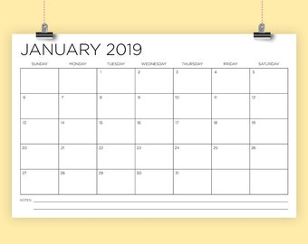 11 x 17 Inch 2019 Calendar Template | INSTANT DOWNLOAD | Thin Sans Serif Type Monthly Printable Minimal Desk or Wall Calender | Print Ready
