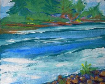 Willamette River 30 original plein air landscape acrylic painting
