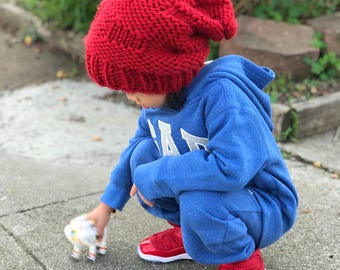 Red slouchy beanie, red slouchy hat for kids, slouchy kids for all ages, slouchy beanie, kids beanie, red beanie, knit beanie, handmade hat