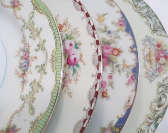 Vintage Mismatched China Salad Plates for Farmhouse, Cottage Chic, Shabby, Rustic, Wedding, Bridal Luncheon, Tea Party - Set of 4
