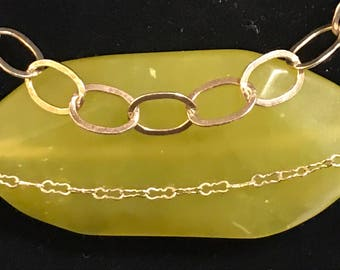 Vintage Multistrand Sterling Silver necklace w/ natural handcarved chartreuse stone marked 925