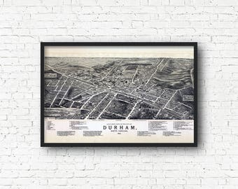 Durham Vintage Map Art Print, North Carolina, Duke University