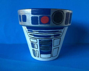 Star Wars R2D2 Inspired Terra Cotta Pot