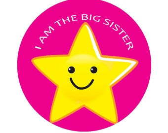 """I am the Big Sister Button Pin 2.25"""" Brooch BabyShower Girl"""