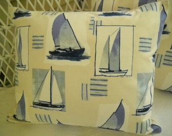 Set of two pillow covers  sailboats lumbar 23 by 19 nautical seaside beach