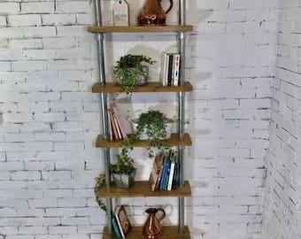 Handmade Bespoke Adjustable Reclaimed Oak and Scaffolding Bookshelf