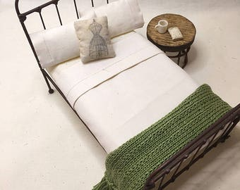 Shabby Chic Handmade Miniature Dollhouse TWIN Bed Throw - Hand Knitted- Olive