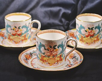 Antique Royal Stafford, Thomas Poole, Demitasse Cups And Saucers, Set Of 3 Small Cups And Saucers