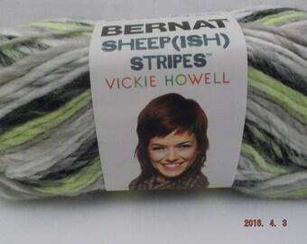 Bernat Sheepish Stripes Yarn ~ Green Neonish ~ Wool Blend ~ #4 Medium ~ 70 grams/2.4 ounces ~ 137 yards