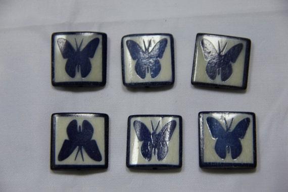 6 pcs Batik Bone Butterfly Rectangle Beads